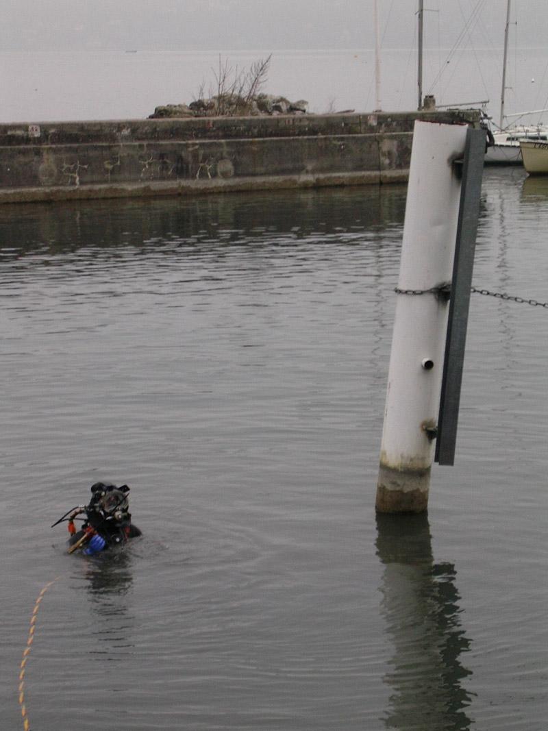 Découpage immergé et évacuation des anciens pieux de guidage des pontons et catways du port de Thonon les Bains